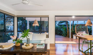 Bangalow Palms - Byron Bay - Living and Dining Area Looking Out to Deck at Dusk