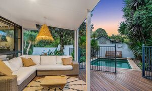 Bangalow Palms - Byron Bay - Outdoor Deck Looking to Pool at Dusk
