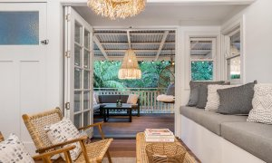 Bohemian Bangalow - Byron Bay - Living Area Looking to Rear Deck at Dusk