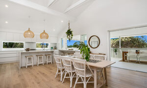 Castaway on Tallows - Byron Bay - Dining Area Looking to Kitchen and Outdoor Area