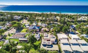Clique - Byron Bay - Aerial Towards Beach.