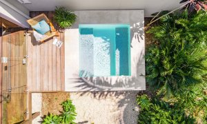 Clique 1 - Byron Bay - Aerial Straight Down on Pool