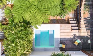 Clique 3 - Byron Bay - Aerial Straight Down on Pool b