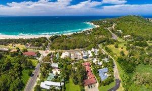 Cooinda - Byron Bay - Aerial Panorama Path to Beach