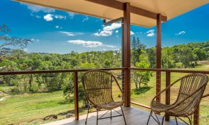 Rockinghorse House - Byron Hinterland - Outdoor cane seating area with view