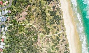Sea Salt - Byron Bay - Aerial Straight Down on Path to Beach