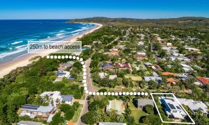 Shore Beats Work - Byron Bay - Aerial Towards Broken Head Outline