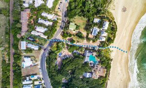 Three Salty Sisters - Byron Bay - Aerial Straight Down High - Outline