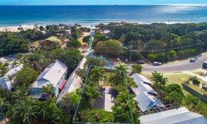 Three Salty Sisters - Byron Bay - Aerial Towards Beach - Outline