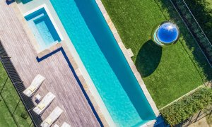 Villa St Helena - Byron Bay - Aerial Straight Down to Pool and Spher