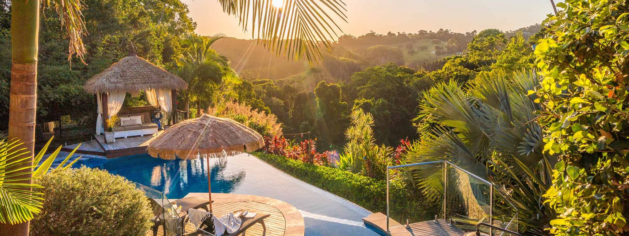 A Coorabell Retreat - Byron Bay - Pool at Sunset