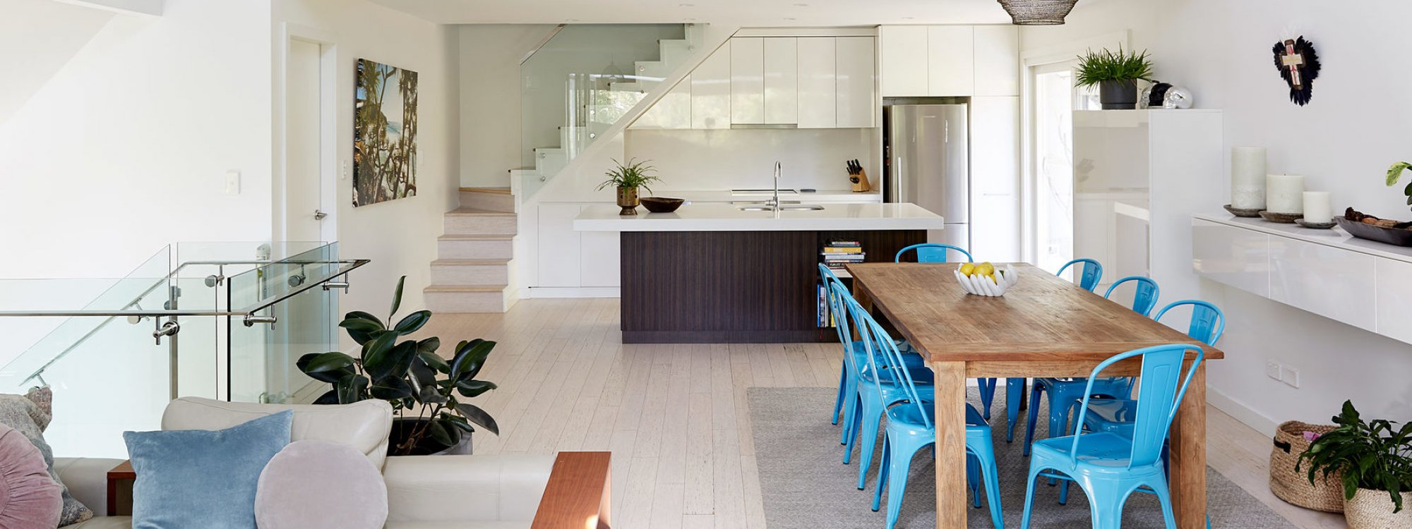 Arya - Byron Bay - Living Area Through To Kitchen and Loft Bedroom