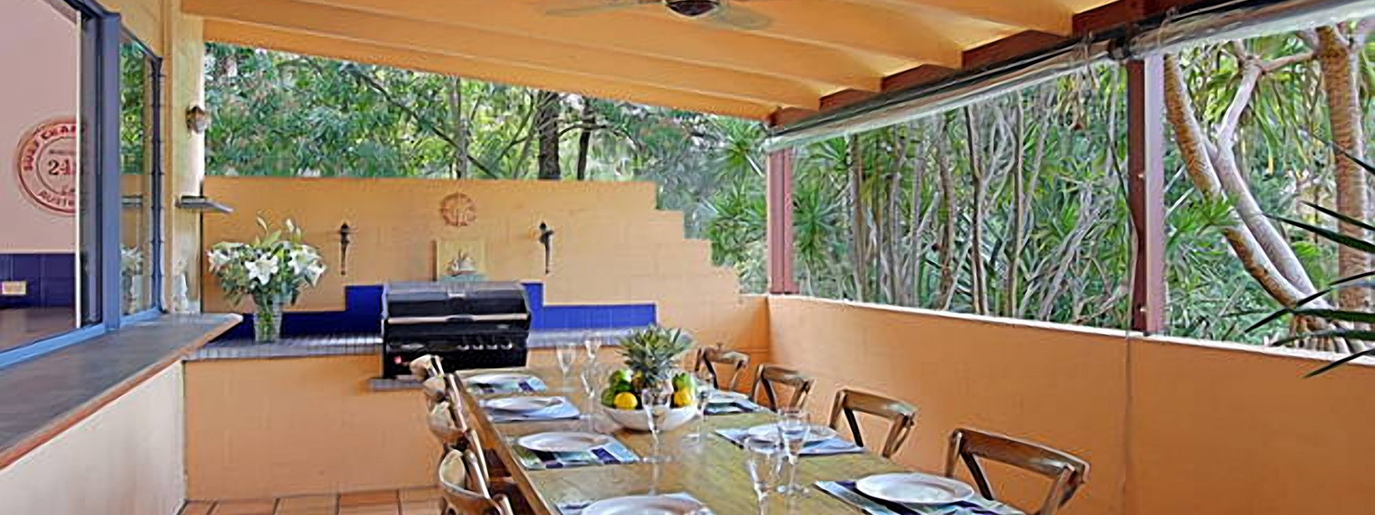 Aurora Byron Bay - Outdoor dining and BBQ area with private outlook