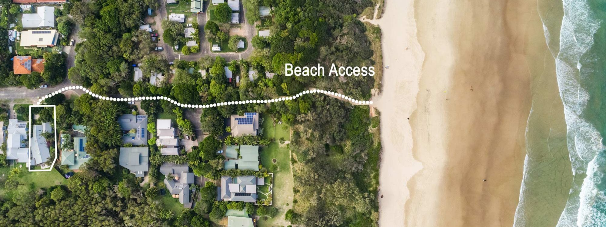Beachwood - Byron Bay - Aerial Straight Down with Path to Beach