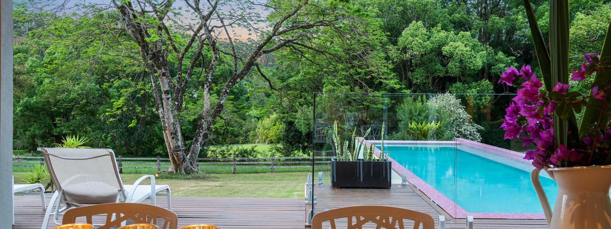 Bellbird - Byron Bay - Rear Deck Looking Across to Pool at Dusk c