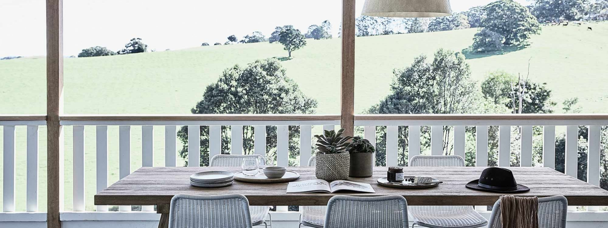 Bennys Cottage - Byron Bay - Real Living Shoot Outdoor Dining Towards Hills