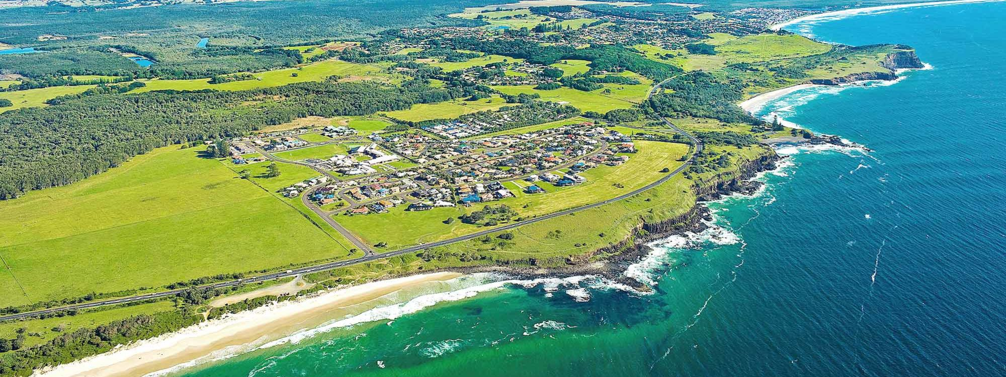 Boulders Retreat - Lennox Head - Aerial View Skennars