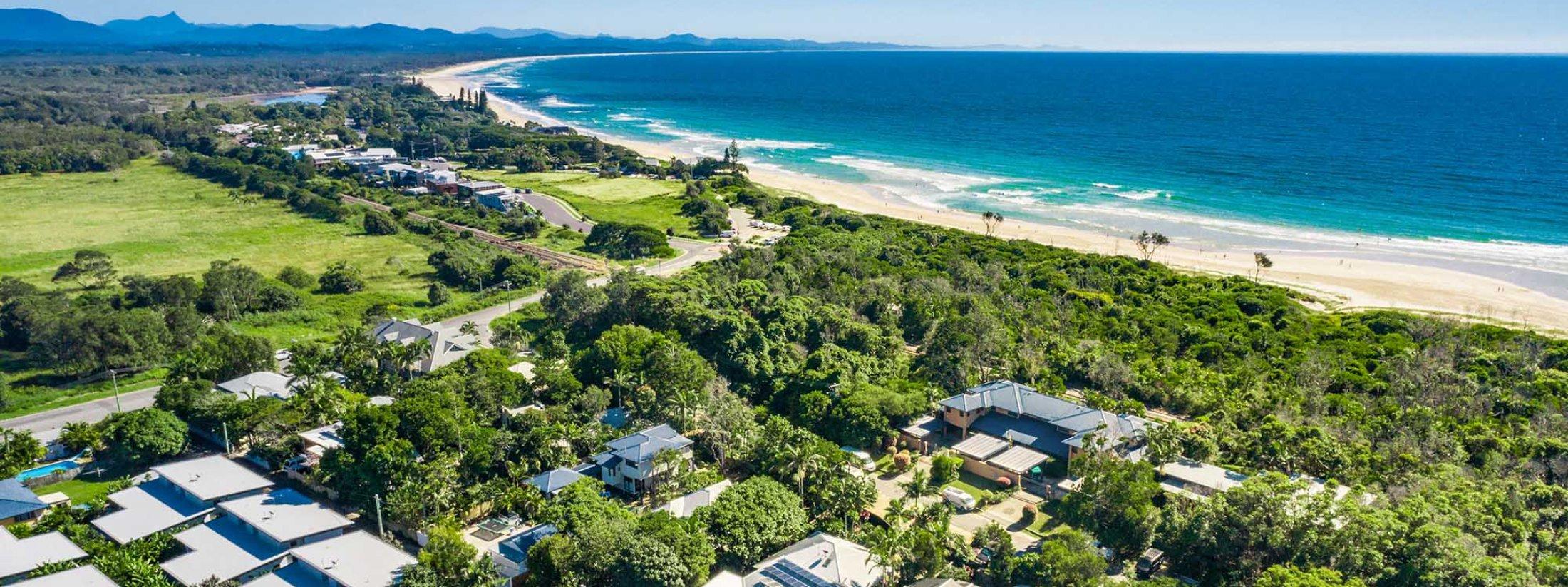 Cavvanbah Seaside Cottage - Byron Bay - Aerial towards North