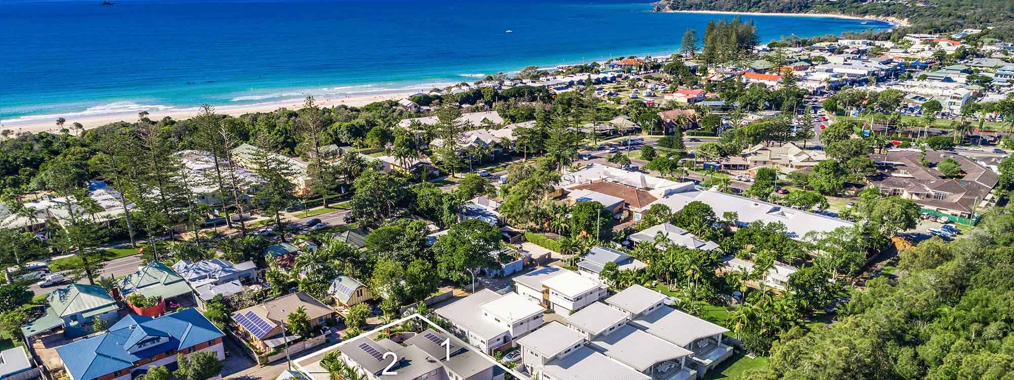 Clique 3 - Byron Bay - Aerial Towards Cape Byron Outline