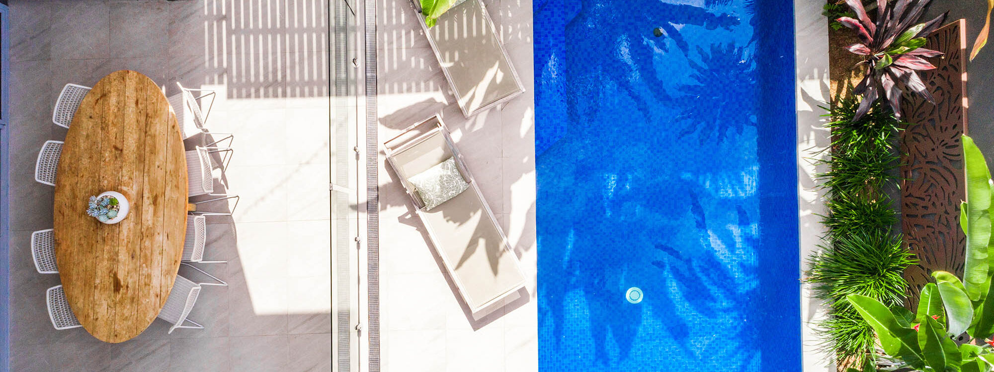 Kokos Beach House 1 - Byron Bay - Aerial Straight Down to Pool d
