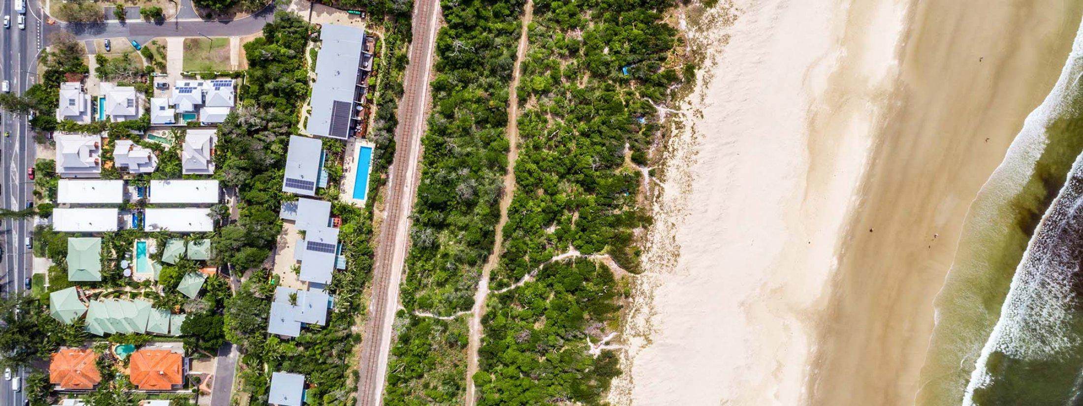 Kokos Beach Houses - Byron Bay - Aerial Straight Down to All Kokos and Beach