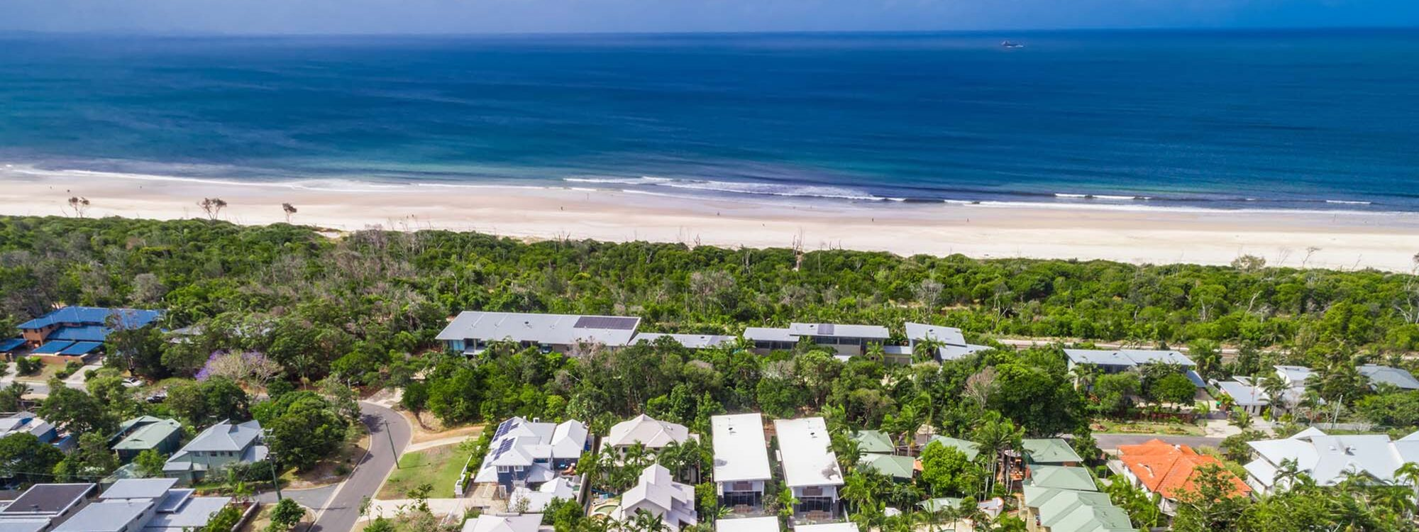 Kokos Beach Houses - Byron Bay - Aerial Towards Ocean