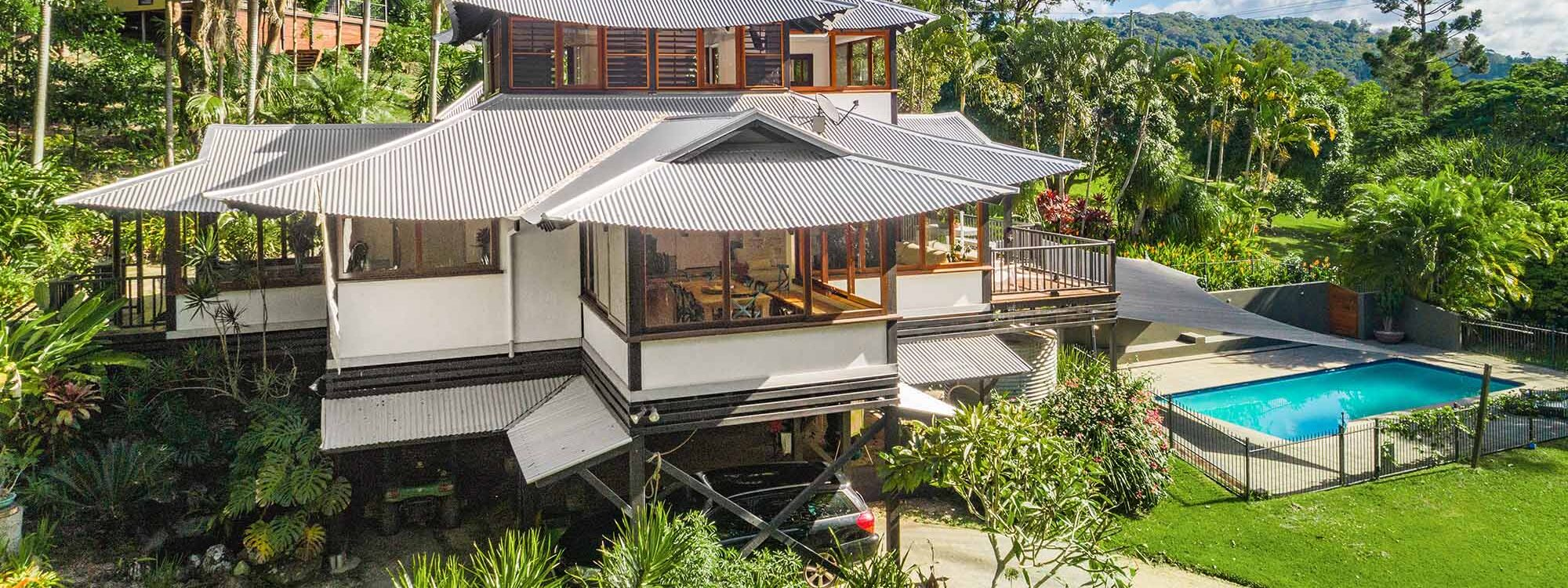 Ourmuli House - Byron Bay - Aerial Image - Front of House and Cabin b