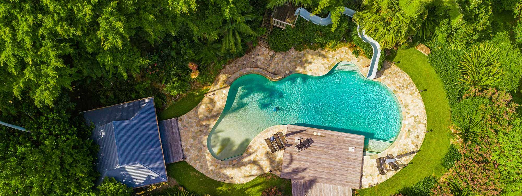Stone and Grove - Byron Bay - Ewingsdale - aerial view of house and pool