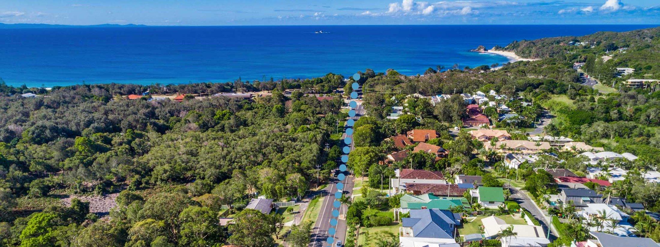 The Harrow - Byron Bay - Aerial Towards Clarkes Beach High Outline