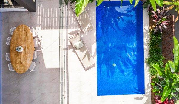 Kokos Beach House 1 - Byron Bay - Aerial Straight Down to Pool d